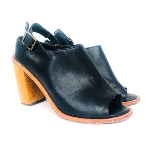 ANTHROPOLOGIE Black Leather Block Heel Sandal 7